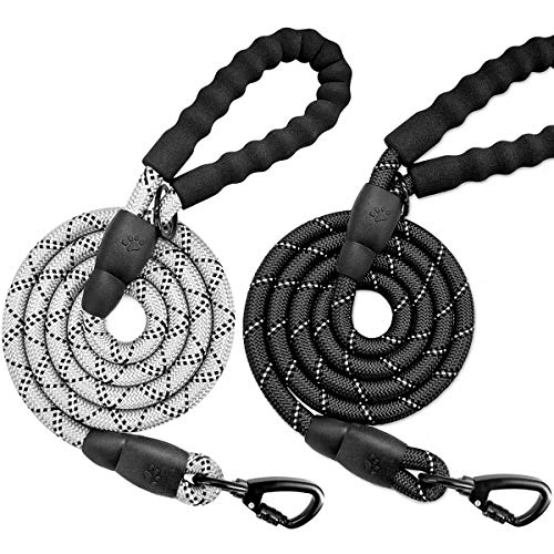 BARKBAY 2 Pack Dog leashes for Large Dogs Rope Leash Heavy Duty Dog Leash with Comfortable Padded Handle and Highly Reflective Threads 5 FT for Small Medium Large Dogs(Gray+Black)