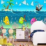 Cartoon 3d Unterwasserwelt Tapete Kinderzimmer Wohnzimmer Hintergrundbild -300 * 210cm
