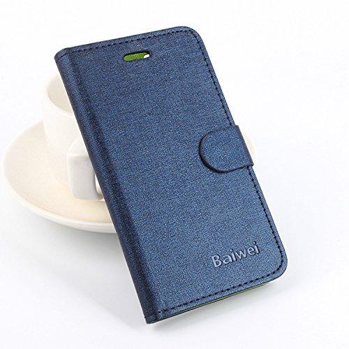 Baiwei Easbuy Pu Leder Mit Grün Kunstleder Flip Cover Tasche Hülle Case Handytasche Für JIAYU G4 G4S G4C Smartphone (Blau)