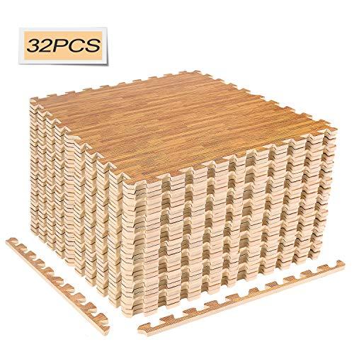 CCLIFE 60x60 30x30 Bodenschutzmatte Schutzmatte Fitness Unterlegmatten Bodenmatte Schwarz Holzoptik Grau 8er 16er 24er 18er 32er, Variante:60x60cm / 32er Holzoptik