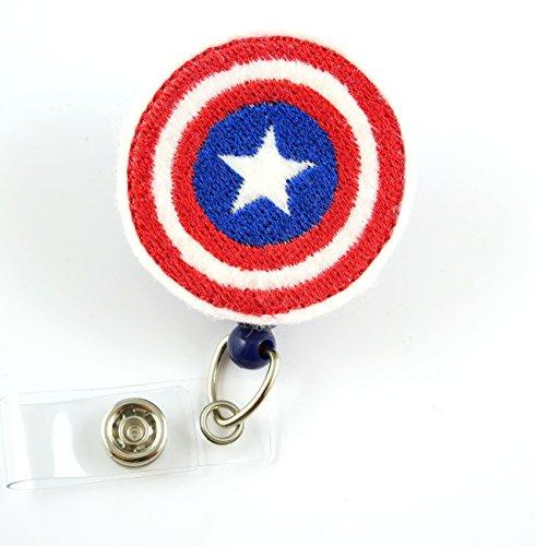 Captain America - Nurse Badge Reel - Retractable ID Badge Holder - Nurse Badge - Badge Clip - Badge Reels - Pediatric - RN - Name Badge Holder
