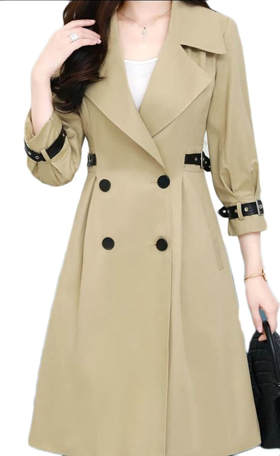 GAGA Women's Casual Double Breasted Lapel Knee Length Trench Coat