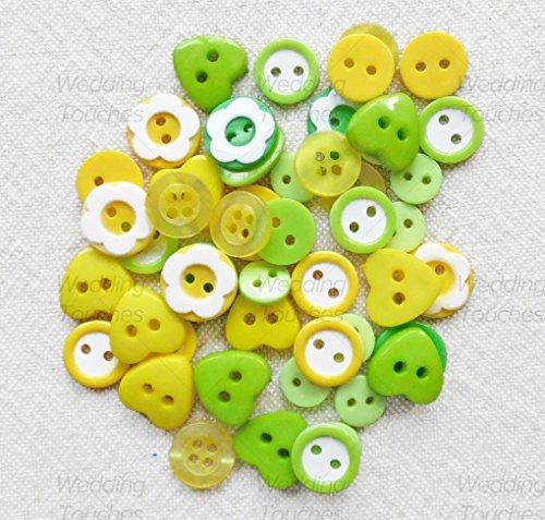 Lot de 50–Vert/jaune Mix résine acrylique et boutons pour les ornements