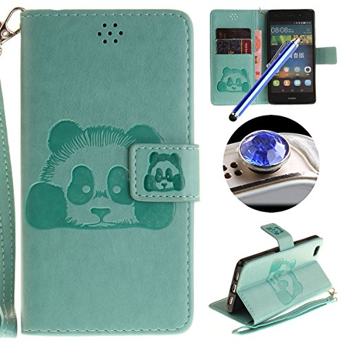 [ Huawei P8 Lite ] Cuir Coque,Huawei P8 Lite Housse de téléphone en Cuir, Etsue Retro Panda Motif Portefeuille en Cuir Flip Couverture de Case avec Lanière et Carte de Visite Dossier Fonction pour Huawei P8 Lite + Cadeaux Gratuit + 1 x Bleu stylet + 1 x Bling poussière plug (couleurs aléatoires)-Vert