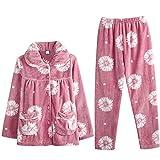 DFDLNL Pijamas de Flores de Franela de Invierno Pijamas de Manga Larga Pijama Mujer Ropa de Estar para el hogar Ropa de hogar Coral Fleece Sleep Set L.