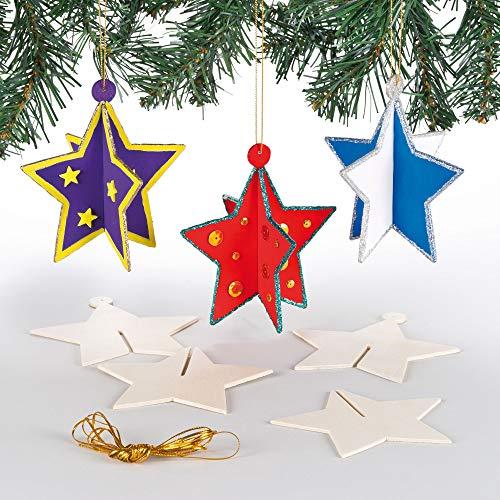 Baker Ross Décorations pour Sapin de Noël étoiles en Bois (Lot de 6) - Loisirs créatifs de Noël pour Enfants