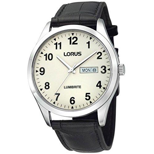 Reloj de pulsera con correa de piel y esfera con pintura luminosa Lorus para hombre