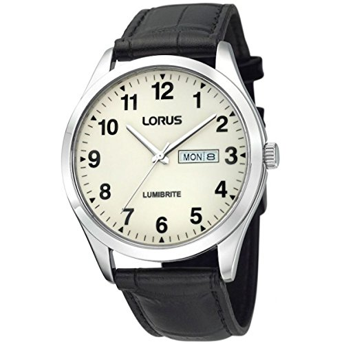 Mens Lorus Lumibrite Zifferblatt-Lederband-Armbanduhr RJ647AX9