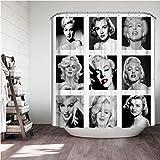 ACTMSY Duschvorhang 180x200cm Marilyn Monroe Badezimmer Textil Vorhang Wasserdicht Antischimmel Polyester Waschbar Badezimmer Badvorhang Mit 12 Haken Und Gewichtetem Saum