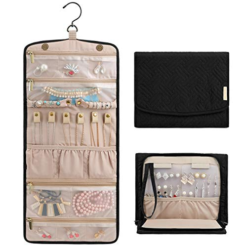 BAGSMART Travel Hanging Jewelry Organizer Case Foldable Jewelry Roll with Hanger for Journey-Rings Necklaces Bracelets Earrings Black