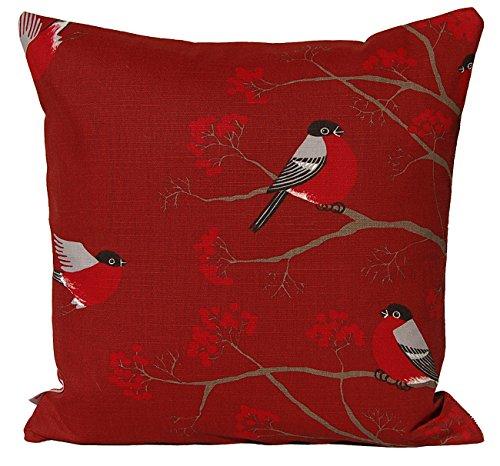 """beties """"Beeren Vögel Kissenhülle ca. 40x40 cm Kissenbezug in interessanter Größenauswahl hochwertig&angenehm 100% Baumwolle in der Farbe Marsala"""