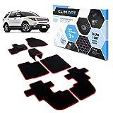 CLIM ART Honeycomb Custom Fit Floor Mats for Ford Explorer 2011-2014, 1&2 Row, Car Mats Floor Liner, All-Weather, Car Accessories for Man & Woman, Black/Red - FL051711068