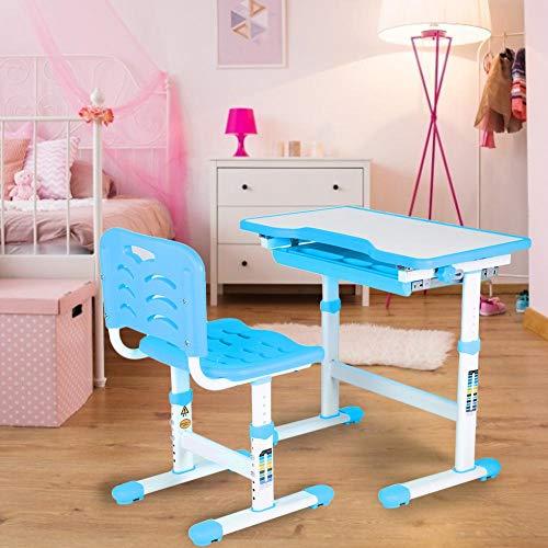 Cikonielf Verstellbare Kinder Studie Hausaufgaben Schreibtisch Set Mit Hocker, 0~45 ° einstellbar Höhenverstellbar Mit Schublade herausziehen Ergonomischer Stuhlsitz und Rückenlehne(blu)