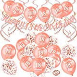 HOWAF 46 Pieces 18th Birthday Decoration Kit, Include Happy 18th Birthday Banner, Hanging Swirls And 18th Birthday Balloons for Girls 18th Birthday Party Decoration Supplies, Rose Gold (Age 18)
