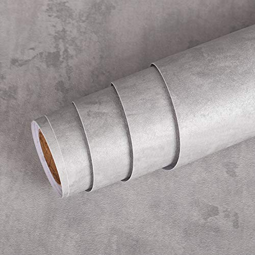 Livelynine Vintage Selbstklebende Tapete Betonoptik Grau Betontapete Shabby Klebefolie Betonoptik Folie für Möbel Tür Wohnwand Tisch Esstisch Kommode Schrank Badezimmer Industrial Möbelfolie 40CMx2M