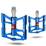 ROCKBROS Advanced 4 Bearings Mountain Bike Pedals Platform Bicycle Flat Alloy Pedals 9/16' Blue