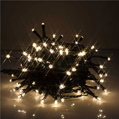 JnDee Safe Voltage 300 Bright LEDs 30 Metres Warm White String Fairy Lights for Christmas Tree Party Wedding Events, 8 Modes, Timer, Long Lead