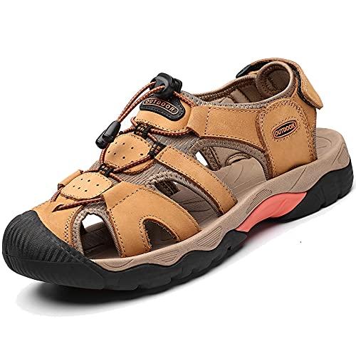 DimaiGlobal Sandalias Deportivas para Hombre Al Aire Libre Cuero Verano Playa Senderismo Zapatos Antideslizante Trekking Casual Sandalias 40EU Amarillo