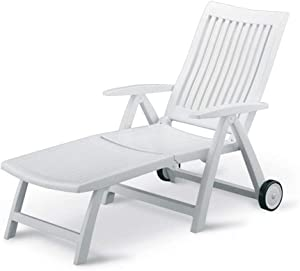 KETTLER Roma Folding Lounger in White Resin