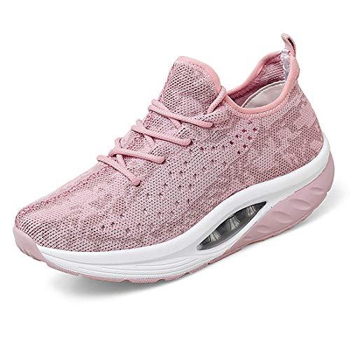 Zapatillas De Deporte para Mujer,Zapatos Cuña Malla Sneaker Plataforma Calzado Deportivo de Exterio,Rosa EU 36