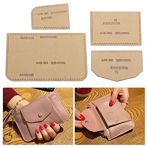 Plantilla de cuero de 4 piezas para marroquinería, plantilla de cartera acrílica, plantilla de plantilla de dibujos, juego de manualidades de cuero