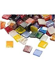 Mozaïek tegels - 1000-Pack glas mozaïek stukken, mozaïek chips, gekleurd glas mozaïek, getextureerd glas mozaïek, voor decoratie, ambacht, doe-het-zelf kunst projecten, vierkant, 40 verschillende kleuren, 0,4 x 0,4 x 0,1 inch