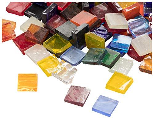 1000-pack fyrkantiga glasmosaikdelar i 40 blandade färger, 10 x 10 x 2,5 mm