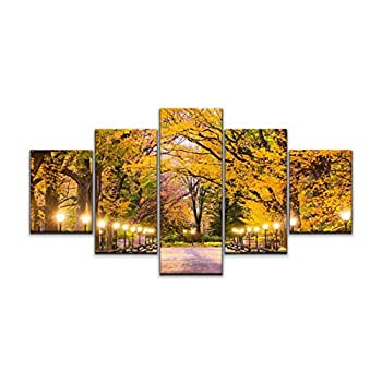 Large Canvas Print 5 Panels Art Wall Paintings Central Park in New York City Stretched Framed Wall Poster Picture on Canvas Home Decor - 60x32 Inch Total