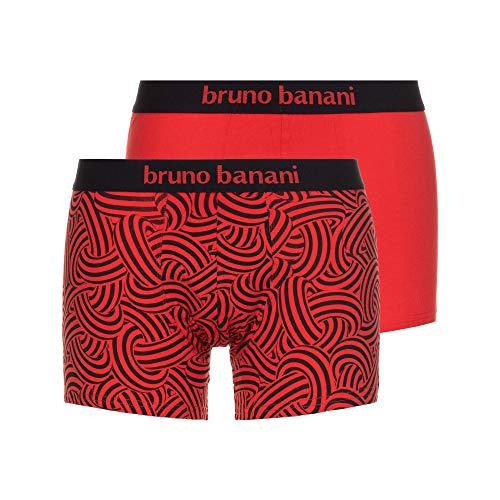 bruno banani Herren Short 2er Pack Maniac Boxershorts, Schwarz Print//Rot 2735, X-Large (Herstellergröße: XL)