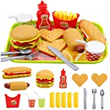 Elitao Pretend Play Fast Food Set, Play Food for Kids Kitchen - Play Kitchen Accessories - Toy Foods with Play Burger and Hot Dog Plastic Food for Pretend Play, Kids Toddler Childrens Birthday Gifts
