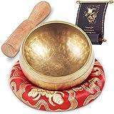 campana tibetana 7 metalli per yoga e meditazione - con martello e anello di supporto in seta - con ebook di 6 meditazioni di base - fatto a mano in nepal