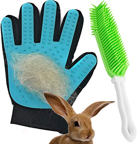 Dasksha Rabbit Brush and Grooming Glove - 2PCS - Gentle on Bunnies and Guinea Pigs- Small Animal...