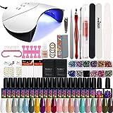 Conjunto de manicura Kit de Esmalte de uñas de Gel para manicura en el hogar Kit Completo Kit de uñas Kit de Barniz Semi Permanente Juego de Clavos con lámpara LED UV (Color : 36W 20PC Set1)