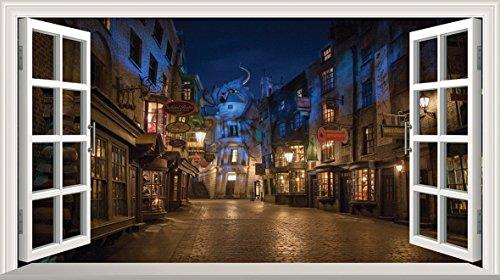 Chicbanners Harry Potter V0101 Wandtattoo, Motiv Diagon Alley 3D Magisches Fenster, selbstklebend, Größe 1000 mm breit x 600 mm tief (groß)