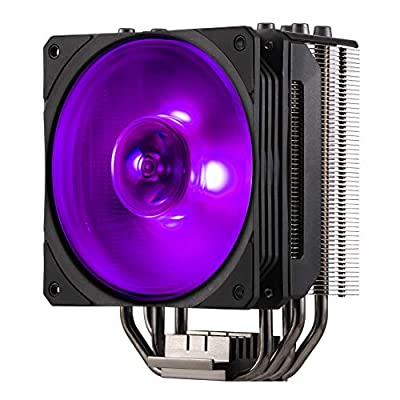 Cooler Master Hyper 212 RGB Black Edition Cooling System - Stylish, Colourful and Precise - 4 Continuous Direct Contact Heat Pipes with Fins, SF120R RGB Fan