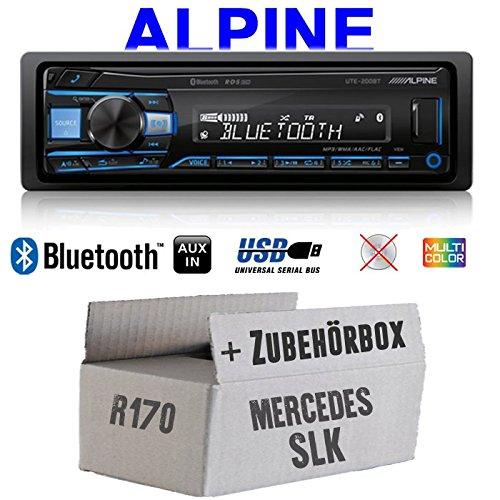 Autoradio Radio Alpine UTE-200BT Bluetooth USB MP3   1-DIN PKW KFZ 12V Einbauzubehör - Einbauset für Mercedes SLK R170 - JUST SOUND best choice for caraudio