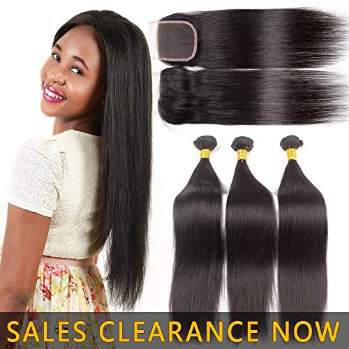 9A Human Hair 3 Bundles With 4x4 Lace Closure Free Part Best Brazilian Straight Virgin Hair Weave Indian Malaysian Remy Hair Extensions Deals Cheap Peruvian Natural Black Hair Weft 14 16 18 With 12