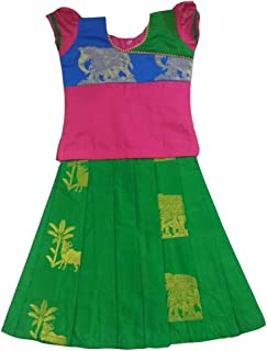 Pattu Pavadai Traditional Pure Silk Pavada Set Green and Pink for Baby Girls and Kids