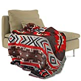 Red Mexican Blanket Boho Throw Blanket Farmhouse 50x70 Inch Aztec Throw Blanket for Couch, Camping Decorative Picnic Blankets with Tassel,Woven Park Blankets as Sofa Living Room Yoga Beach Travel