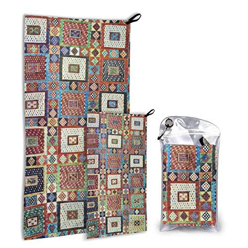 Snelle droge microvezel kampeerhanddoek set voor wandelingen, reizen, kamp, rugzak - groot 140 cm x 70 cm - klein 80 cm x 40 cm - zacht, super absorberend, gratis draagtas, Zili Oost Anatolia Antiek Turks tapijt