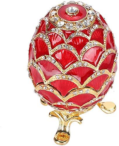 Almacenamiento de joyas Huevos Color rojo Esmaltado Craft Durable Huevos de Pascua, Decoración del hogar Colores ricos Forma de huevo para el hogar Regalos de almacenamiento de joyas para mujer KEEBON