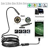 Teabelle 7mm Endoscopio 30W Cámara HD USB Endoscopio con 6 LED 1/1.5/2 / 3.5 / 5M Cable Suave Inspección Borescope para Android PC