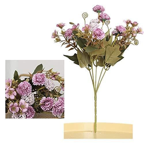 MINGYUECHAO 5 Gabel 11 Köpfe Kunstblumen Aus Seide Gartennelken Weihnachtssträuße Hauptdekoration Gefälschte Blumen for Dekoration (Color : Purple)