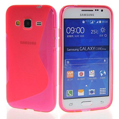 MELOENVIAS Funda para Samsung Galaxy Core Prime G360F Gel TPU Diseño S-Line Color Rosa