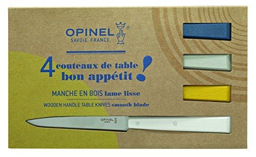 Opinel Bon Appetit Celeste Tafelmesser - rostfrei - 4 tlg - Stahl 12C27 - Buchenholzgriffe in weiß - blau - gelb - grau