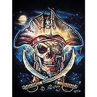 SAROW 5Dダイヤモンドペイントキット 大人/子供セット フルドリル ダイヤモンドクロスステッチ アートクラフト ホームウォールデコレーション 海賊の頭蓋骨 11.8 × 15.7インチ 1パック