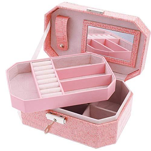 FANKUTOYS Joyeros de cuero para mujer – Organizador de almacenamiento de joyas con cerradura – 2 capas portátil anillos pendientes collar caja de almacenamiento regalo para niñas