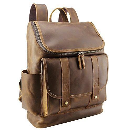 Polare Rustic Full Grain Leather 15.6' Laptop Backpack Travel Bag Schoolbag Adventure Bag with YKK Metal...