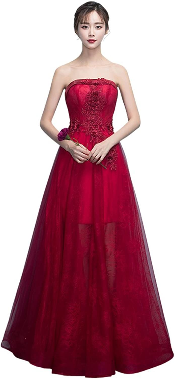 Drasawee Women's Long Strapless Appliques Tulle Wedding Prom Evening Party Dress Dark Red US2