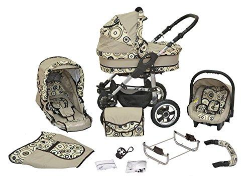 Kombi Kinderwagen X6 - 3 in 1 - Kombikinderwagen Buggy Kreise-beige